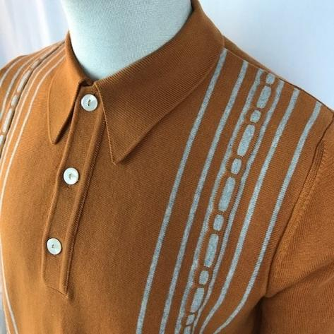Trojan Records Spearpoint Collar Short Sleeve Knit Polo Tan Thumbnail 2