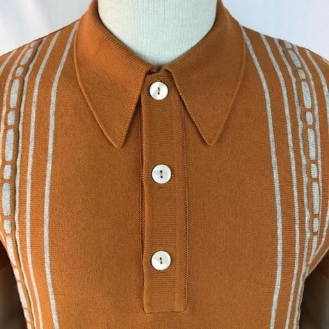 Trojan Records Spearpoint Collar Short Sleeve Knit Polo Tan Thumbnail 3