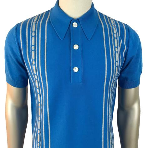 Trojan Records Spearpoint Collar Short Sleeve Knit Polo Blue Thumbnail 1
