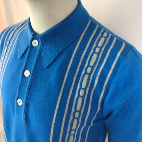 Trojan Records Spearpoint Collar Short Sleeve Knit Polo Blue Thumbnail 2