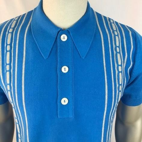 Trojan Records Spearpoint Collar Short Sleeve Knit Polo Blue Thumbnail 3