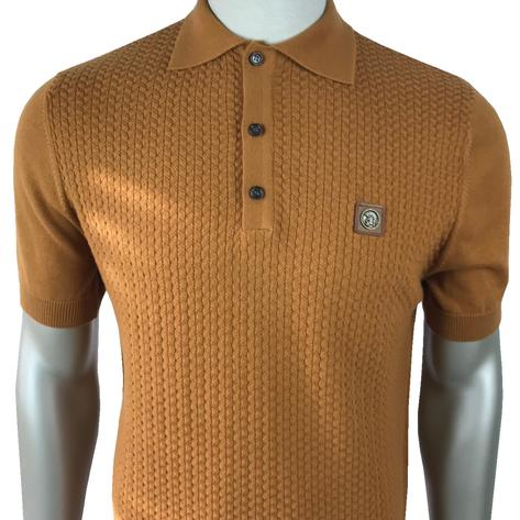 Trojan Records Chevron Knit Panel Polo Tan