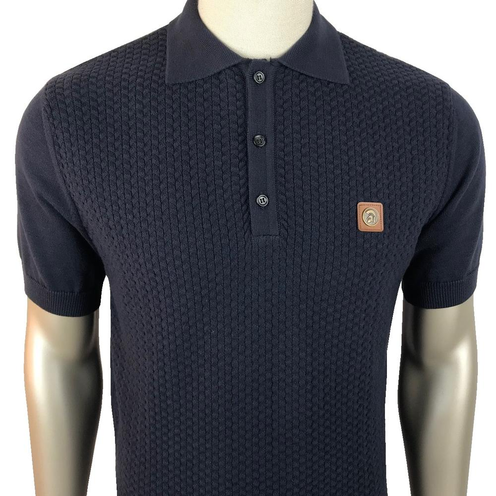 Trojan Records Chevron Knit Panel Polo Navy