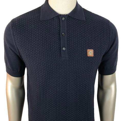 Trojan Records Chevron Knit Panel Polo Navy Thumbnail 1