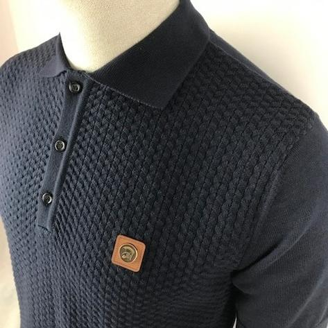 Trojan Records Chevron Knit Panel Polo Navy Thumbnail 2