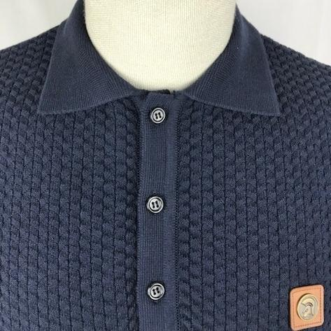 Trojan Records Chevron Knit Panel Polo Navy Thumbnail 3