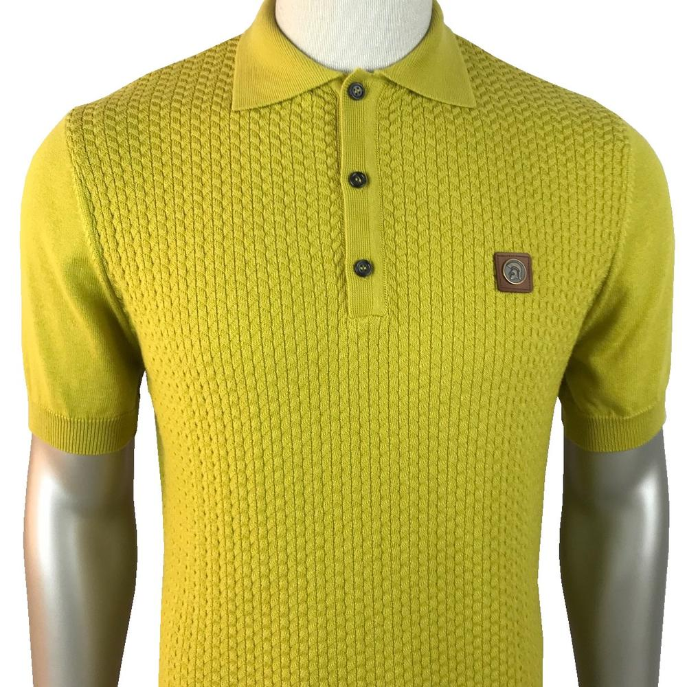 Trojan Records Chevron Knit Panel Polo Pistachio Green