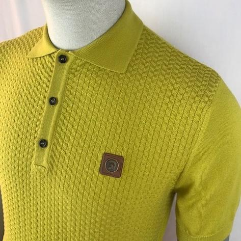 Trojan Records Chevron Knit Panel Polo Pistachio Green Thumbnail 2