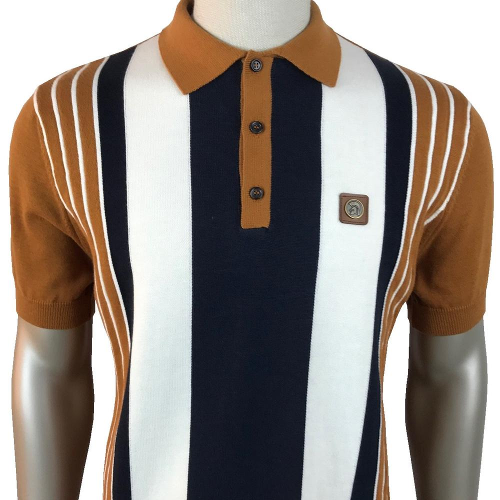 Trojan Records Multi Stripe Short Sleeve Fine Knit Polo Tan