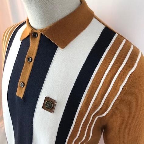 Trojan Records Multi Stripe Short Sleeve Fine Knit Polo Tan Thumbnail 2