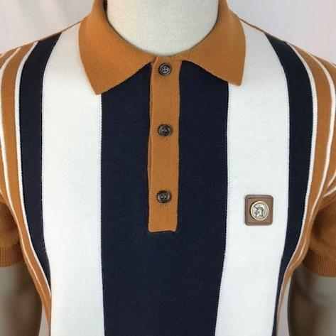 Trojan Records Multi Stripe Short Sleeve Fine Knit Polo Tan Thumbnail 3