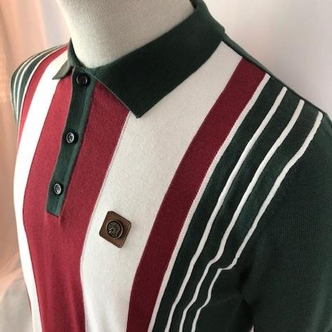 Trojan Records Multi Stripe Short Sleeve Fine Knit Polo Green Thumbnail 2