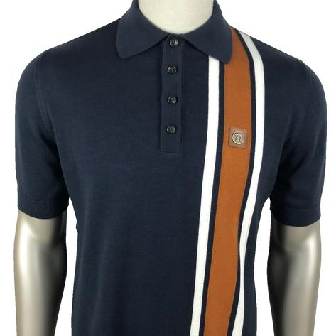 Trojan Records Racing Stripe Short Sleeve Knit Polo Navy