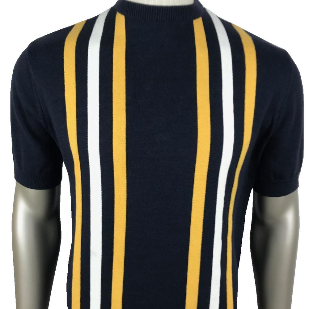 Ska & Soul Stripe Panel Short Sleeve Knit Crew Tee Navy