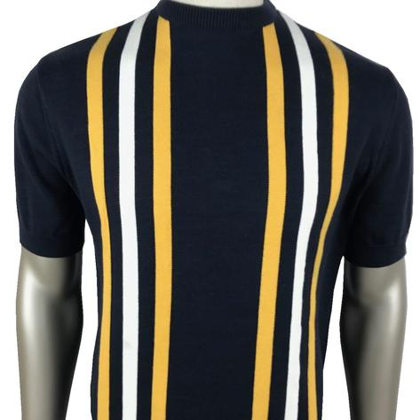 Ska & Soul Stripe Panel Short Sleeve Knit Crew Tee Navy Thumbnail 1