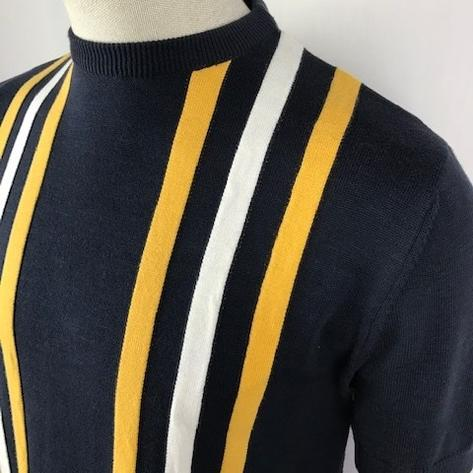 Ska & Soul Stripe Panel Short Sleeve Knit Crew Tee Navy Thumbnail 2
