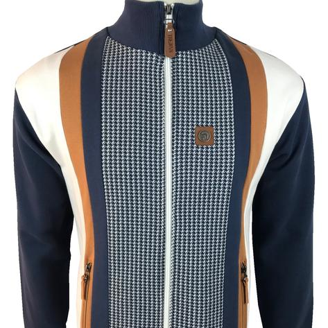 Trojan Records Houndstooth Panel Track Top Navy