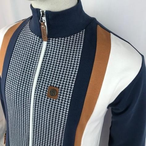 Trojan Records Houndstooth Panel Track Top Navy Thumbnail 2