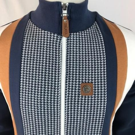 Trojan Records Houndstooth Panel Track Top Navy Thumbnail 3