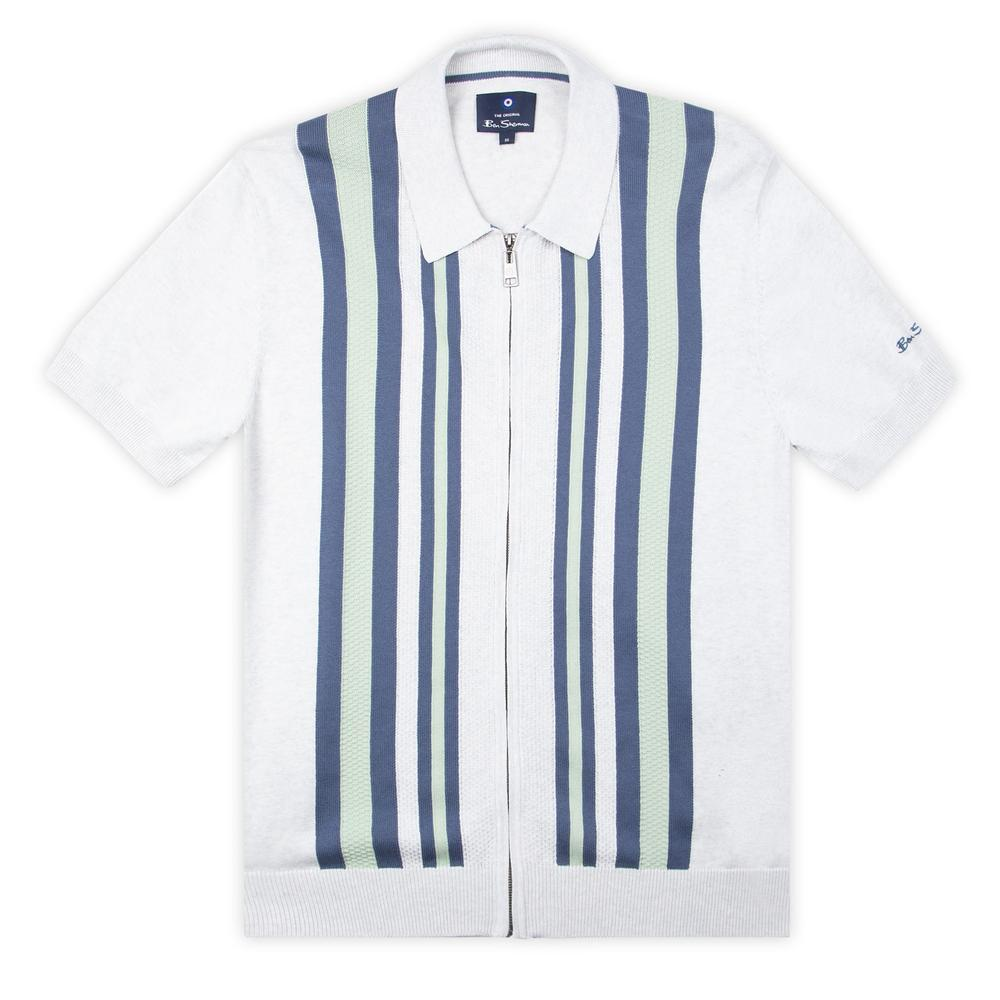 Ben Sherman Textured Stripe Zip Thru Polo White