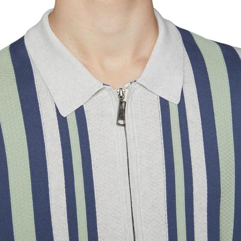 Ben Sherman Textured Stripe Zip Thru Polo White Thumbnail 2
