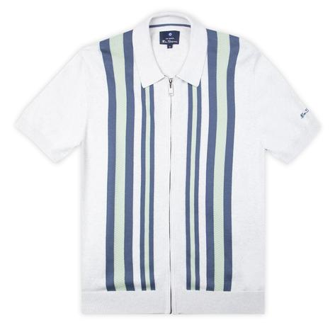 Ben Sherman Textured Stripe Zip Thru Polo White Thumbnail 1