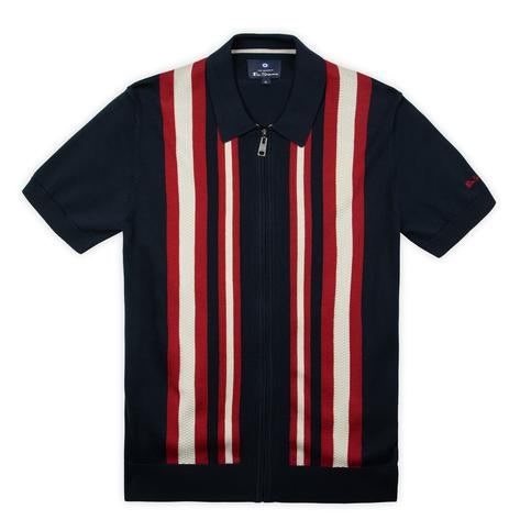 Ben Sherman Textured Stripe Zip Thru Polo Navy Blue