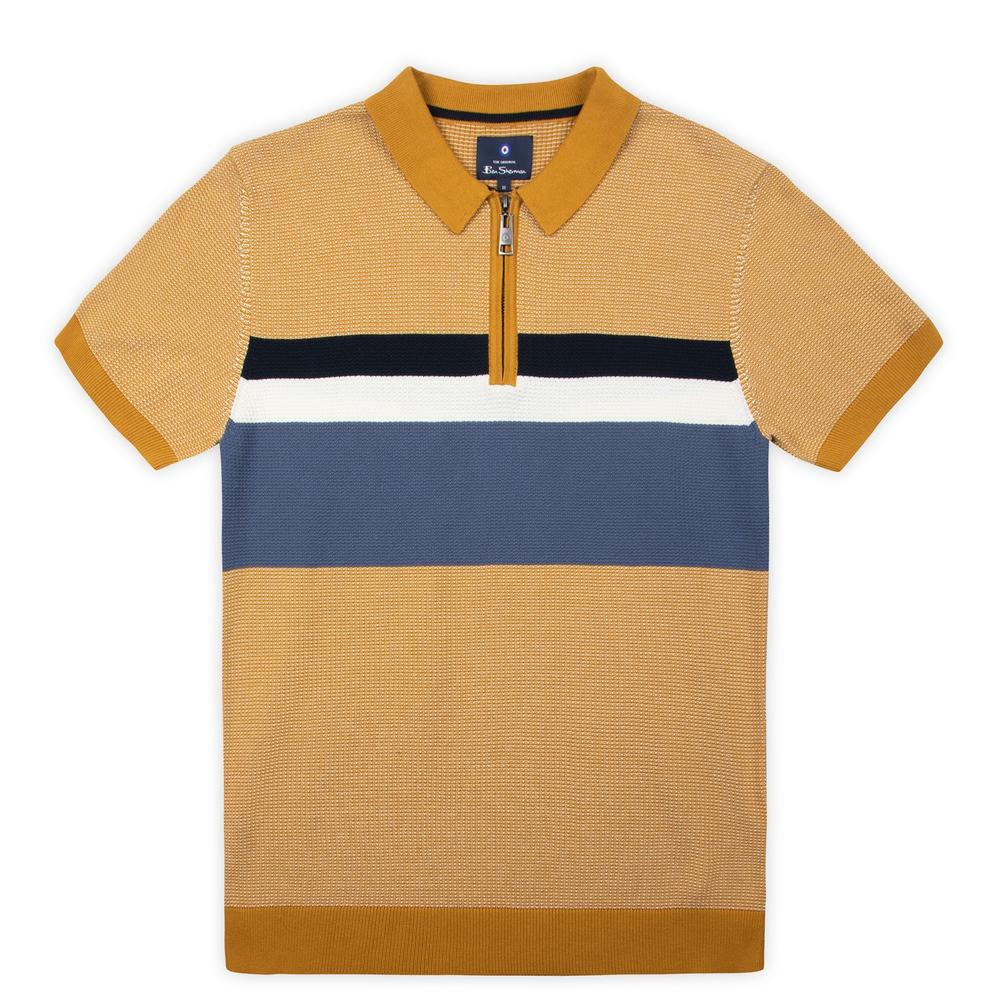 Ben Sherman Chest Stripe Zip Neck Polo Mustard