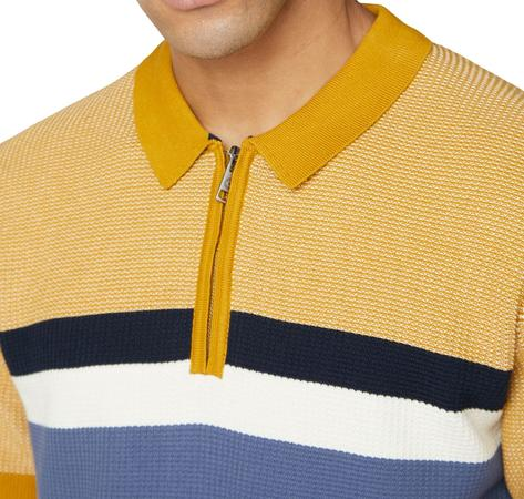 Ben Sherman Chest Stripe Zip Neck Polo Mustard Thumbnail 2