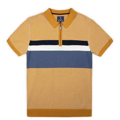 Ben Sherman Chest Stripe Zip Neck Polo Mustard Thumbnail 1