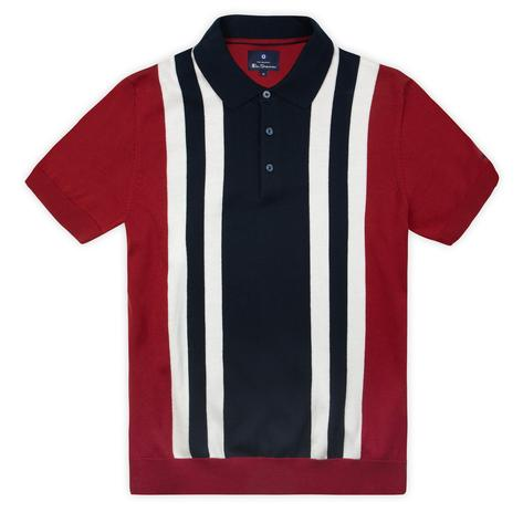 Ben Sherman Block Stripe Knit Polo Red