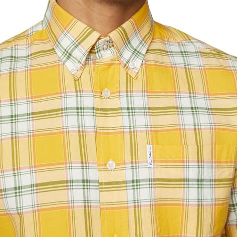 Ben Sherman Archive Retro Big Check Short Sleeve Shirt Yellow Thumbnail 1