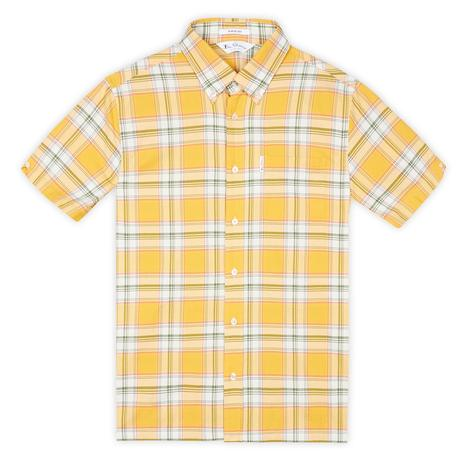 Ben Sherman Archive Retro Big Check Short Sleeve Shirt Yellow Thumbnail 2