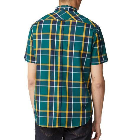 Ben Sherman Classic Retro Check Short Sleeve Shirt Green Thumbnail 3