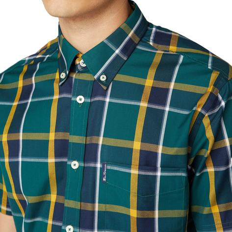 Ben Sherman Classic Retro Check Short Sleeve Shirt Green Thumbnail 1