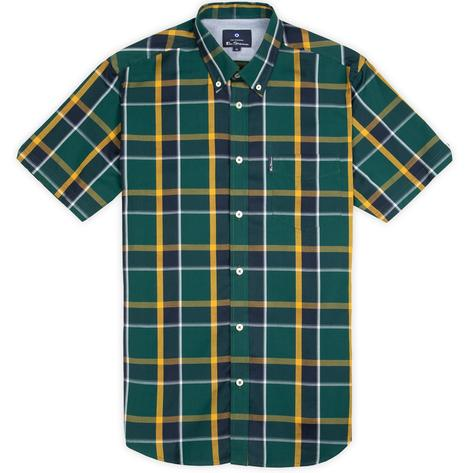 Ben Sherman Classic Retro Check Short Sleeve Shirt Green Thumbnail 2