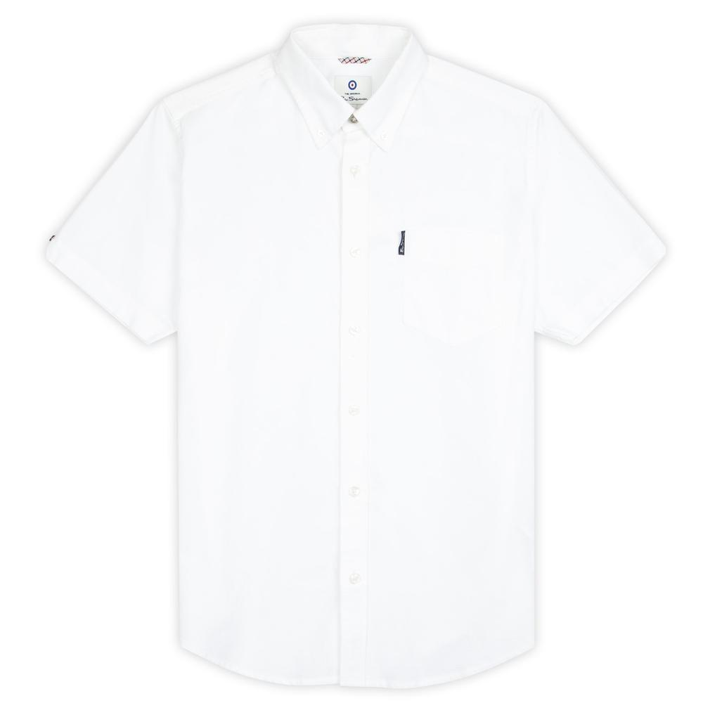 Ben Sherman Classic Oxford Button Down Short Sleeve Shirt White