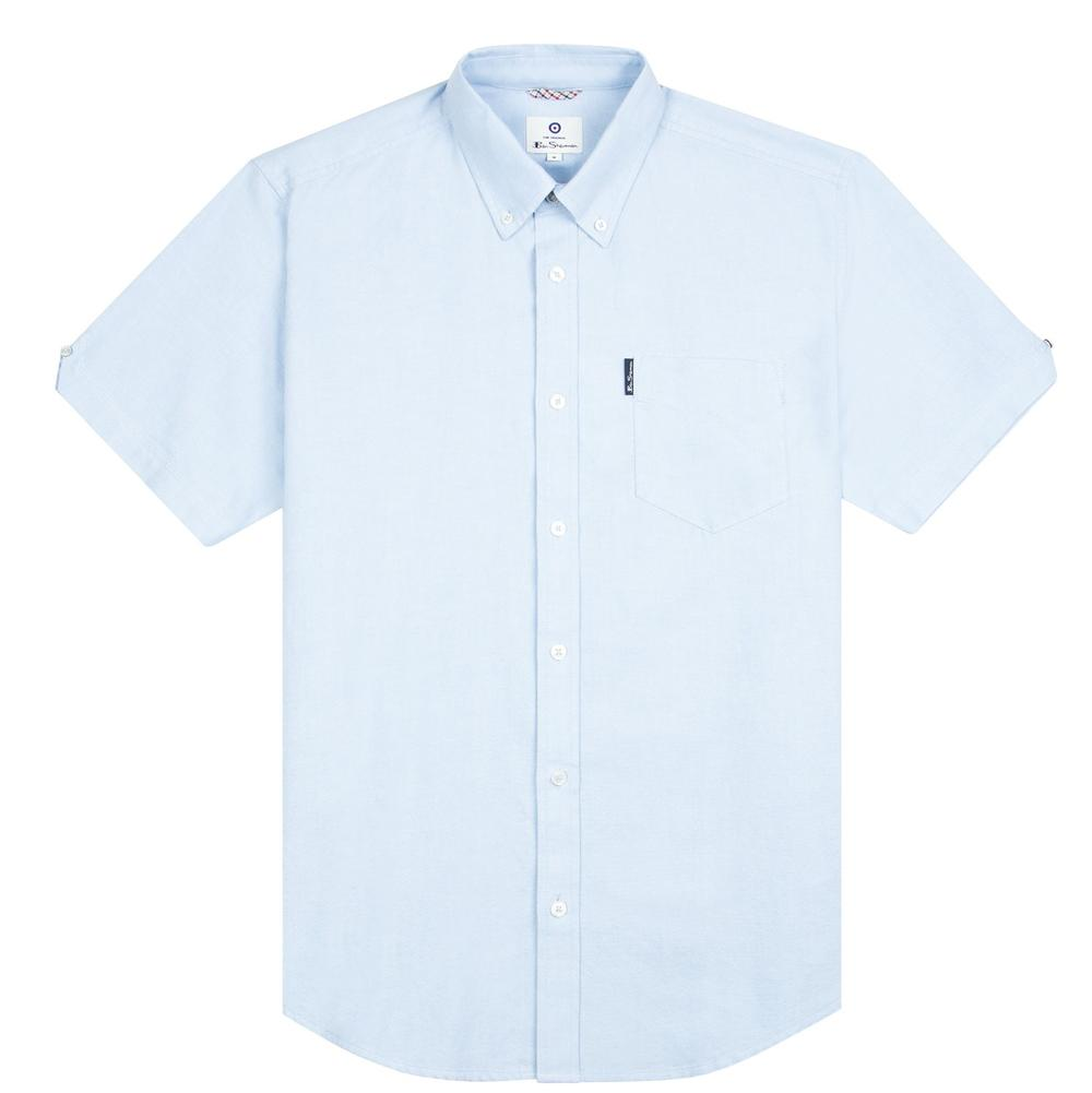 Ben Sherman Classic Oxford Button Down Short Sleeve Shirt Sky Blue