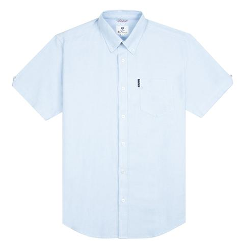 Ben Sherman Classic Oxford Button Down Short Sleeve Shirt Sky Blue Thumbnail 1