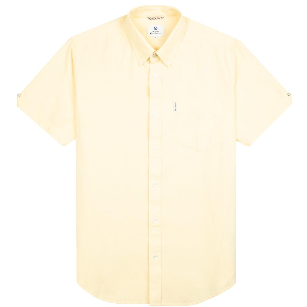 Ben Sherman Classic Oxford Button Down Short Sleeve Shirt Pale Yellow
