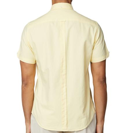 Ben Sherman Classic Oxford Button Down Short Sleeve Shirt Pale Yellow Thumbnail 3