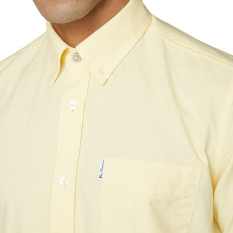 Ben Sherman Classic Oxford Button Down Short Sleeve Shirt Pale Yellow Thumbnail 2