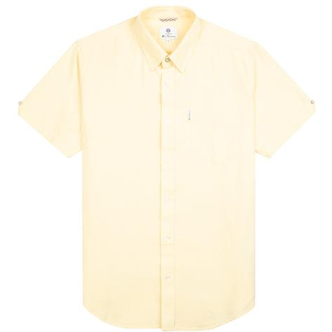 Ben Sherman Classic Oxford Button Down Short Sleeve Shirt Pale Yellow Thumbnail 1