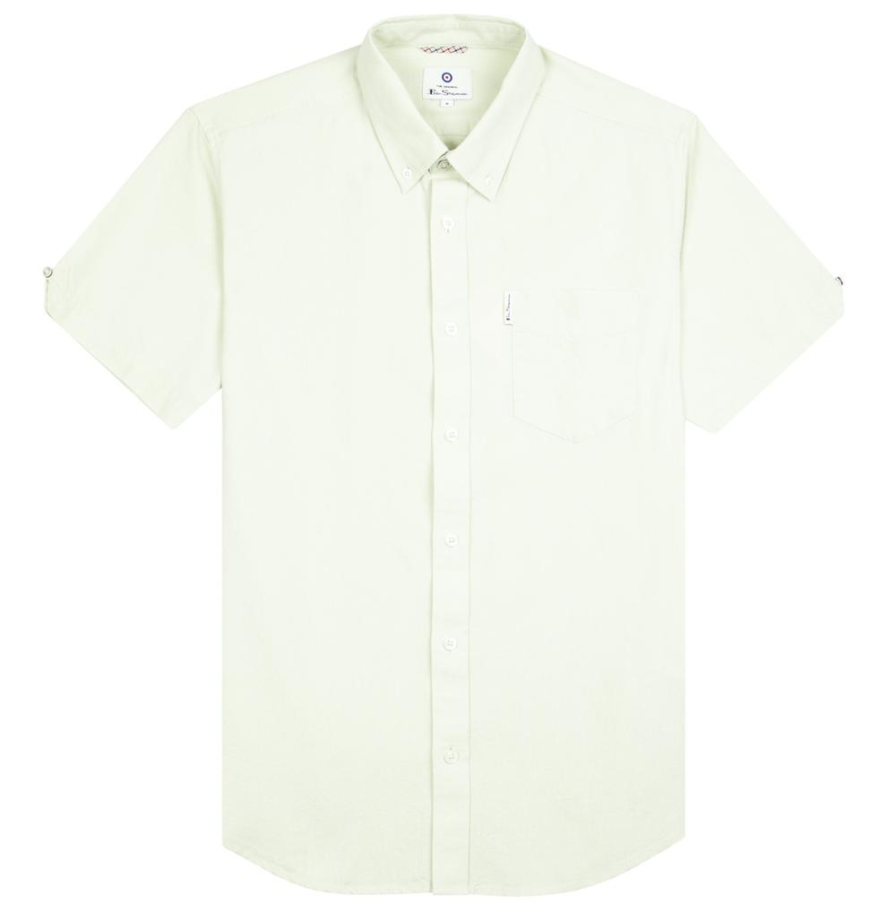 Ben Sherman Classic Oxford Button Down Short Sleeve Shirt Pale Green