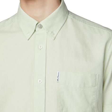 Ben Sherman Classic Oxford Button Down Short Sleeve Shirt Pale Green Thumbnail 2