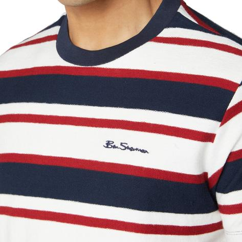 Ben Sherman Reverse Loop Back Cross Stripe T-Shirt Red White and Blue Thumbnail 1