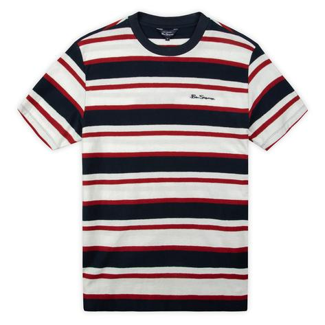 Ben Sherman Reverse Loop Back Cross Stripe T-Shirt Red White and Blue Thumbnail 2