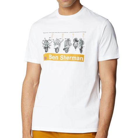 Ben Sherman Scooter Print T-Shirt White Thumbnail 2