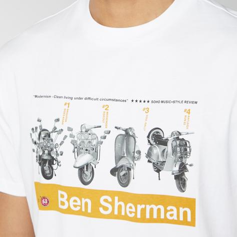 Ben Sherman Scooter Print T-Shirt White Thumbnail 1