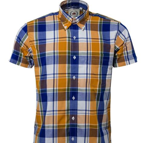 Relco Button Down Check Short Sleeve Shirt Mustard and Blue Thumbnail 2